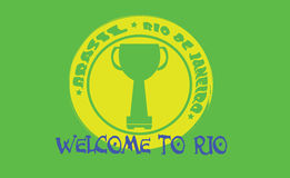 Welcome to rio card with a cup on yellow circle over green background, in outlines Royalty Free Stock Photos