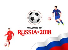 Welcome to Russia 2018. Design template for horizontal sports ba. Nner. Vector illustration on white background Royalty Free Stock Images