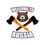 Welcome to Russia. Emblem of angry head bear and axe. Bladed wea Stock Photos