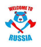 Welcome to Russia. Emblem of angry head bear and axe. Bladed wea Royalty Free Stock Images