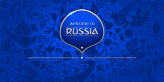 Welcome to Russia, horizontal banner, vector template. Welcome to Russia, horizontal banner, russian blue background with traditional and modern elements, 2018 Stock Photo