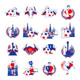 Welcome to Russia inscription badges vector set. Abstract invitations collection on world football cup 2018. Stock Photo