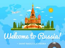 Welcome to Russia poster with famous attraction Stock Photo
