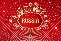 Welcome to Russia 2018 soccer world cup red wallpaper. 2018 World Cup Football Welcome to Russia lettering, gold logo, abstract folk art elements red background Stock Photo