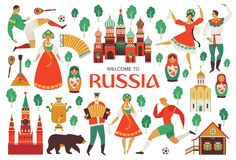 Welcome to Russia. Russian sights and folk art. Football championship in 2018. Flat design Vector illustration. Welcome to Russia. Russian sights and folk art Royalty Free Stock Photography