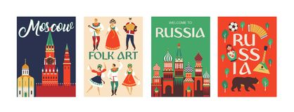 Welcome to Russia. Russian traditional folk art. Poster. Flat design Vector illustration. Welcome to Russia. Russian traditional folk art. Poster Flat design Royalty Free Stock Image