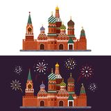 Welcome to Russia. St. Basil s Cathedral on Red square. Kremlin palace isolated on white background and night with. Fireworks - vector stock flat illustration Stock Images