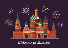 Welcome to Russia. St. Basil s Cathedral on Red square. Kremlin palace isolated on white background and night with. Fireworks - vector stock flat illustration Royalty Free Stock Photography