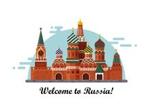 Welcome to Russia. St. Basil s Cathedral on Red square. Kremlin palace isolated on white background - vector stock flat Royalty Free Stock Photos