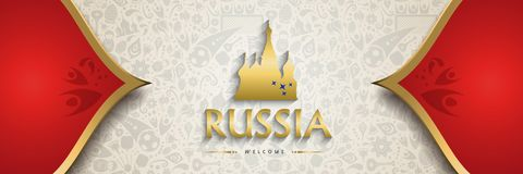 Russia background banner for soccer event. Welcome to Russia symbol texture background with gold decoration. Traditional russian culture banner template for a Stock Illustration