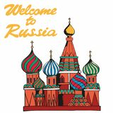 Welcome to Russia. Traditional symbol of Russia. Vector illustration Royalty Free Stock Image