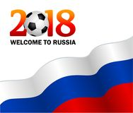 Welcome to Russia 2018. Vector illustration on white background. Text on the background of the Russian flag. Template design for a banner or leaflet Royalty Free Stock Photos