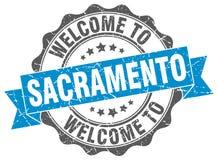 Welcome to Sacramento seal. Welcome to Sacramento round vintage seal Royalty Free Stock Photo