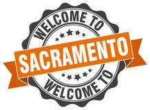Welcome to Sacramento seal. Welcome to Sacramento round vintage seal Stock Image