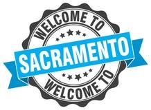 Welcome to Sacramento seal. Welcome to Sacramento round vintage seal Royalty Free Stock Photos