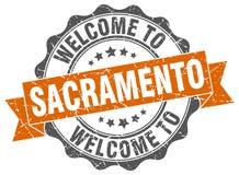 Welcome to Sacramento seal. Welcome to Sacramento round vintage seal Stock Photos