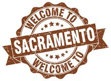 Welcome to Sacramento seal. Welcome to Sacramento round vintage seal Royalty Free Stock Images