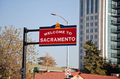 Welcome to Sacramento sign stock photography