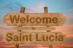 Welcome to Saint Lucia sign on wood background Stock Photos