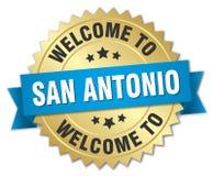 Welcome to San Antonio badge. Welcome to San Antonio round seal with ribbon. San Antonio. welcome to San Antonio vector illustration