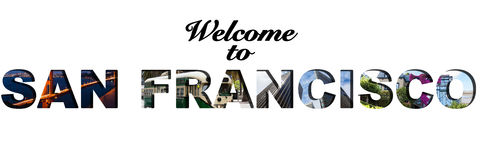 Welcome to San Francisco text collage. Welcome to San Francisco text montage Royalty Free Stock Image