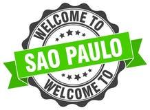 Welcome to Sao Paulo seal. Welcome to Sao Paulo round vintage seal Stock Photo