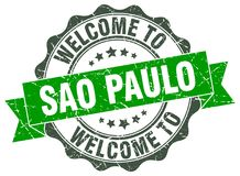 Welcome to Sao Paulo seal. Welcome to Sao Paulo round vintage seal Stock Photography