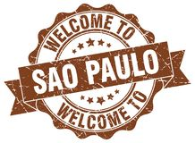 Welcome to Sao Paulo seal. Welcome to Sao Paulo round vintage seal Stock Image