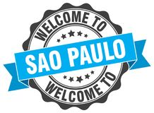 Welcome to Sao Paulo seal. Welcome to Sao Paulo round vintage seal Royalty Free Stock Photo
