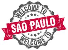 Welcome to Sao Paulo seal. Welcome to Sao Paulo round vintage seal Stock Photos