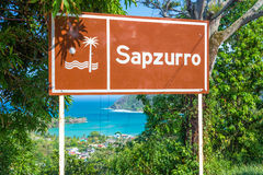 Welcome to Sapzurro Sign Stock Photo