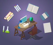 Welcome to school Concept isometric vector illustration. Workplace for the student. Occupation at the computer. A table Stock Photos