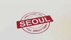 WELCOME TO SEOUL stamp red print on the paper. 3D rendering Stock Photography