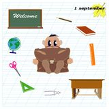 Welcome to September 1st in first class stock illustration