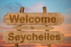 Welcome to Seychelles sign on wood background Royalty Free Stock Photography