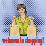 Welcome to shopping pop art woman with shopping bags. Royalty Free Stock Photos