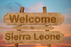 Welcome to Sierra Leone sign on wood background Stock Photo