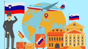 Welcome to Slovenia postcard. Travel and safari concept of Europe world map vector illustration with national flag vector illustration