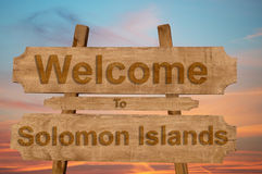 Welcome to Solomon Islands sign on wood background Royalty Free Stock Photography