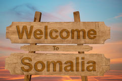 Welcome to Somalia sign on wood background Stock Images