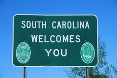 Welcome to South Carolina Sign stock images