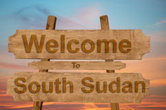 Welcome to South Sudan sign on wood background Royalty Free Stock Photos