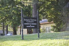 South Tipton County Chamber of Commerce Sign. Welcome to South Tipton County Chamber of Commerce! Tipton County is located on the Mississippi River north of stock image