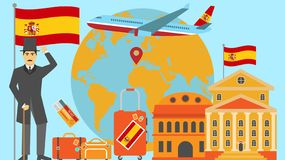 Welcome to Spain postcard. Travel and safari concept of Europe world map vector illustration with national flag stock illustration