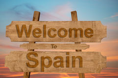 Welcome to Spain sign on wood background Royalty Free Stock Photography
