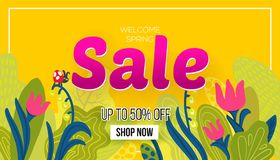 Spring sale with drawn elements royalty free illustration