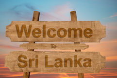 Welcome to Sri Lanka sign on wood background Royalty Free Stock Photo