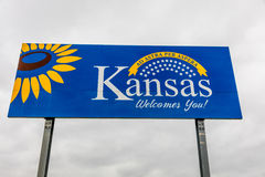 Welcome to the State of Kansas - Roadsign Royalty Free Stock Photo
