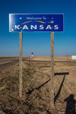 Welcome to the State of Kansas - Roadsign Stock Image