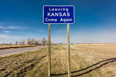 Welcome to the State of Kansas - Roadsign Stock Images